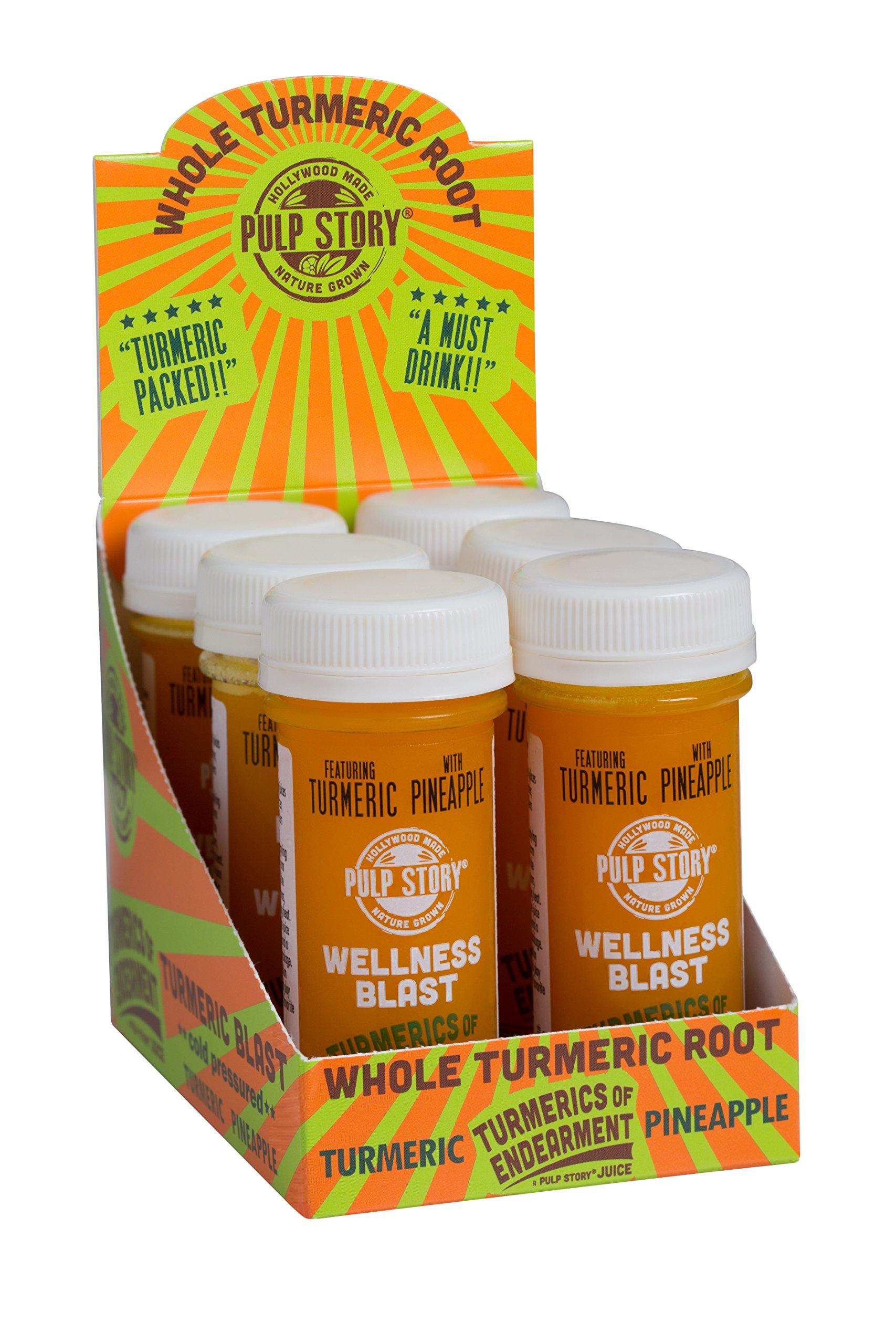 Cold Pressed Juice Shots - Pineapple & Turmeric Juice - Organic Health & Wellness Blast - Turmerics Of Endearment - 2 Oz Single Servings, 6 Count - By Pulp Story