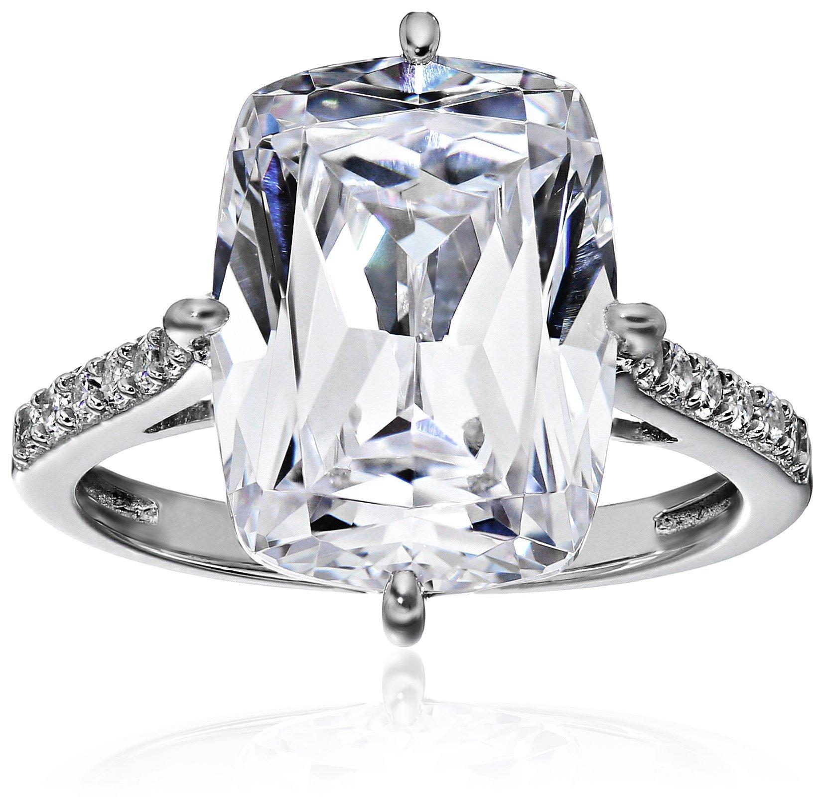 Platinum Plated Sterling Silver Celebrity ''Kim'' Ring made with Swarovski Zirconia, Size 7