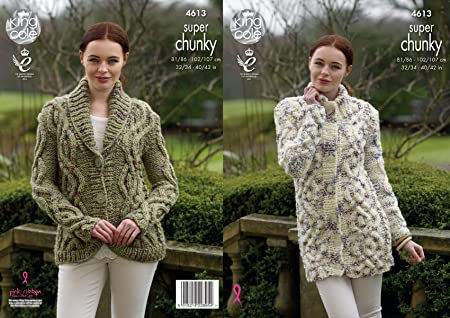 King Cole Ladies Super Chunky Knitting Pattern Womens Cable Knit ...