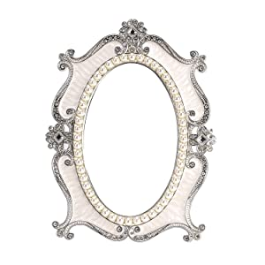 Nerien Vintage Style Pearl Oval Makeup Mirror Floral Tabletop Mirror with Back Stand White