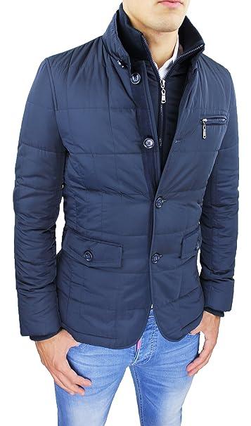 Giubbotto Piumino Uomo Sartoriale Blu Casual Elegante Giacca Cappotto  Invernale con Gilet Interno (S) 7022e4b75be