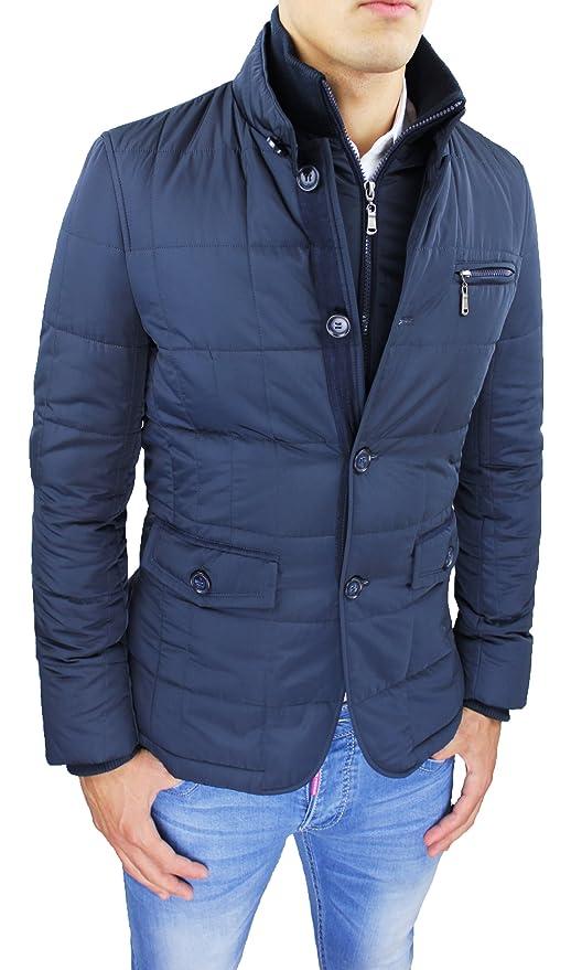 2 opinioni per Giubbotto piumino uomo sartoriale blu casual elegante giacca cappotto invernale