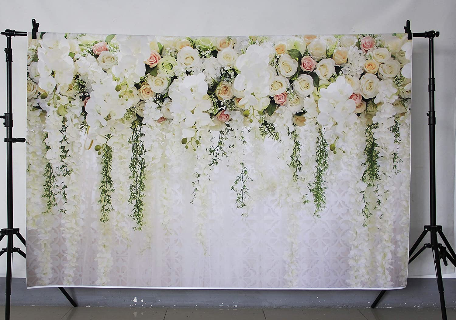 SJOLOON 5X7ft Rose Floral Backdrop Wall Newborns Portraits Photography Backdrop Art Fabric Studio Pink Flowers Wall Photo Backdrop 10939