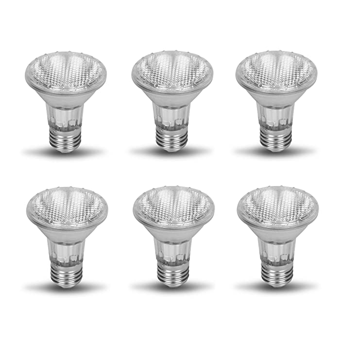 PAR20 50PAR20/FL DIMMABLE 6 Pack 130V 50W Halogen Spot Light Bulb 50 Watts 130 Volt Screw Base Flood Lamp PAR20 Replacement Rich Color High CRI Ceiling Bathroom Kitchen Can Recessed Lighting E26 120V