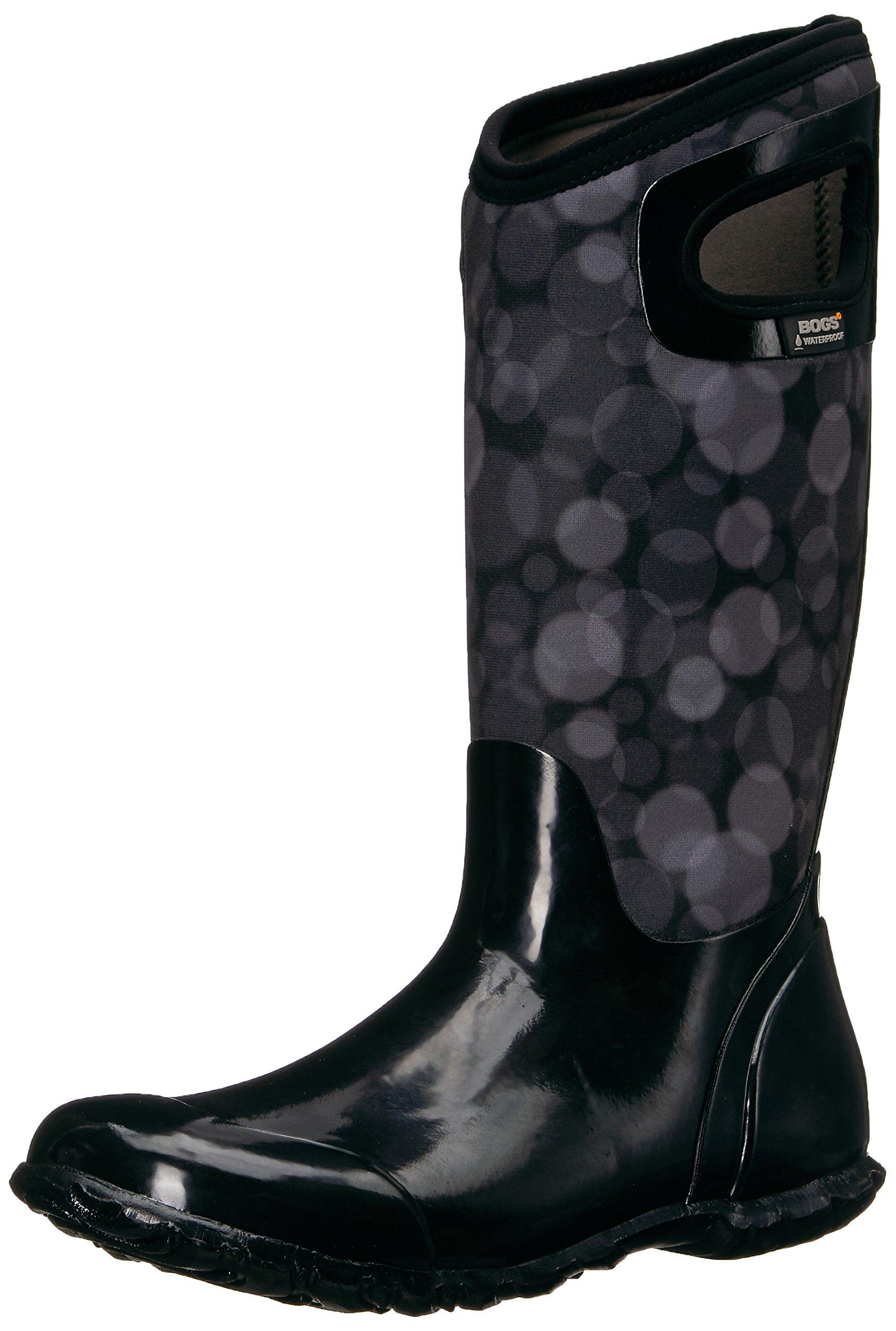 Bogs Women's North Hampton Rain Snow Boot, Black/Multi, 8 M US