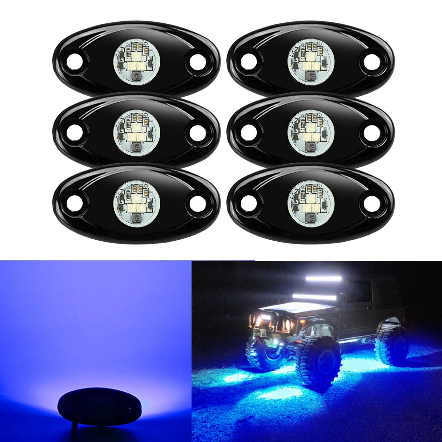 Best Rated In Automotive Neon Accent Light Kits Helpful Customer Underglow Wiring Diagram 6 Pods Led Rock Lights Kit Ampper Waterproof Trail Rig For Car Truck Atv Utv Baja Raptor Offroad Boat Lamp Underbody