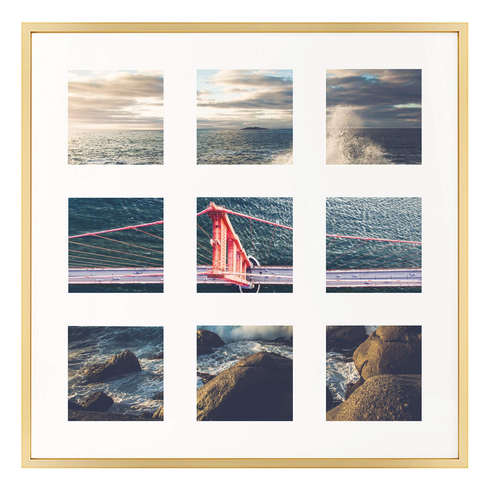 Frametory, 16x16 Gold Aluminum Picture Frame - Matted for Nine 4x4 Pictures - Square Collage Photograph Frame - Wall Display - Inspirational Prints, Quotes, and Dream Frame Ideas by Frametory