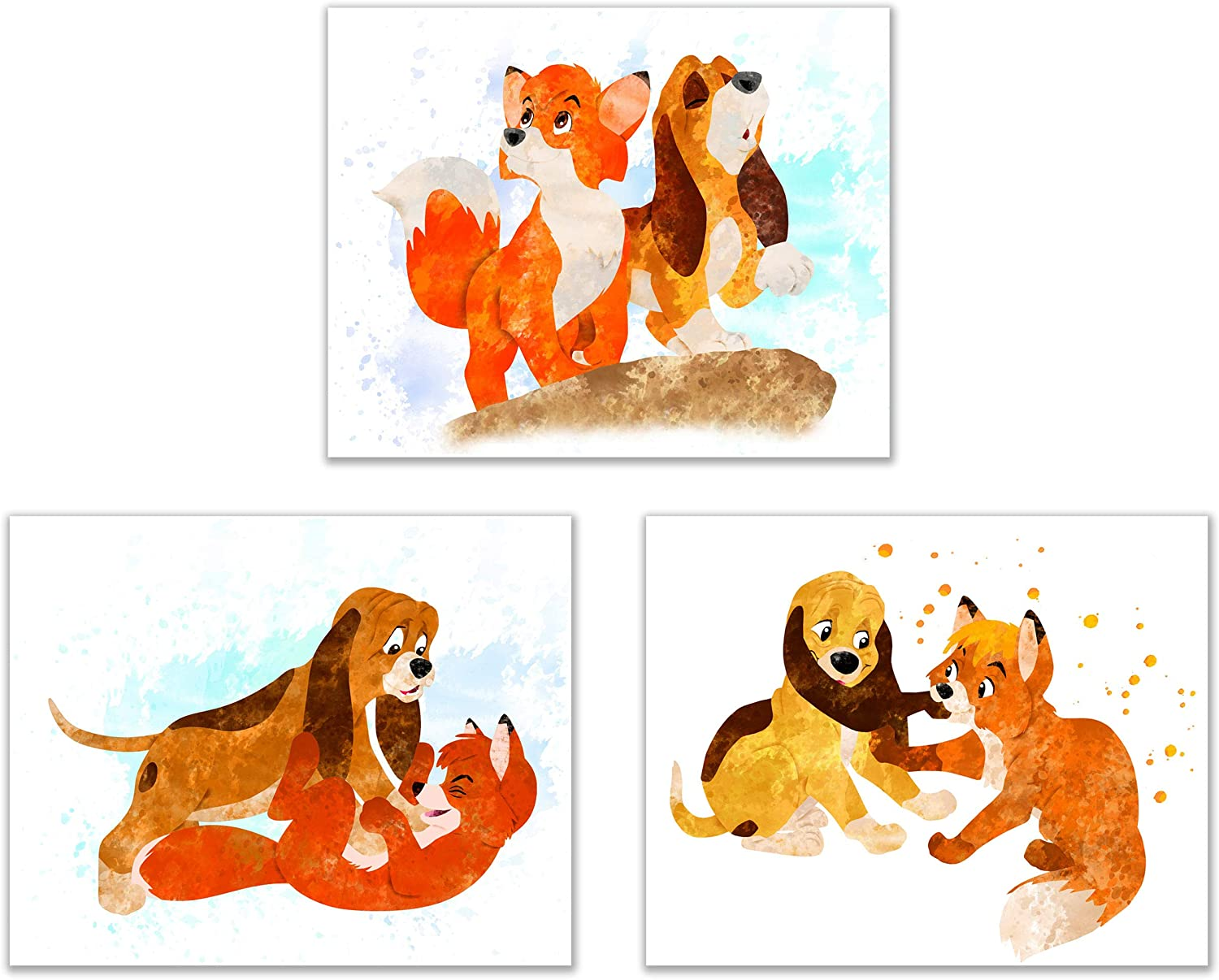 Fox and The Hound - Set of 3 (8 inches x 10 inches) Poster Prints - Cute Watercolor Photos