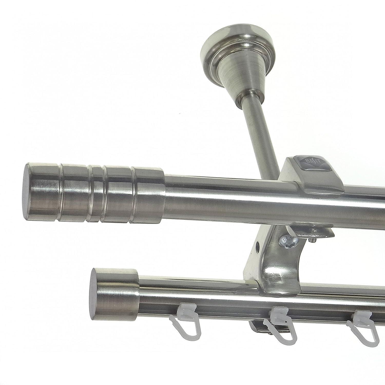 Rohr + Innenlauf Edelstahl Look Gardinenstange Ø 20mm Deckenträger 2-läufig zweiläufig Zylinder D61 E34E30 RI, Länge 240 cm