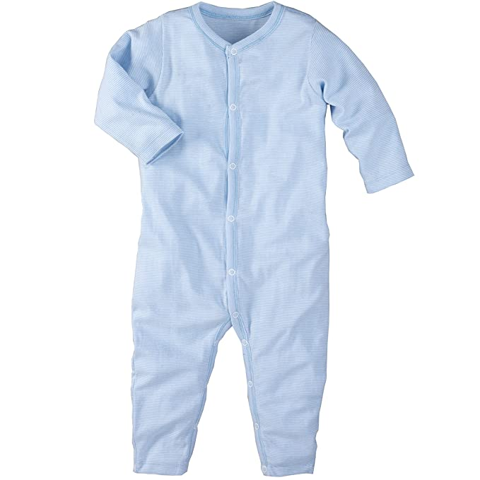 f482a4f2b8b90c wellyou, Schlafanzug, Pyjama für Jungen und Mädchen, Einteiler langarm,  Baby Kinder, hell-blau weiß gestreift, geringelt, Feinripp 100% Baumwolle:
