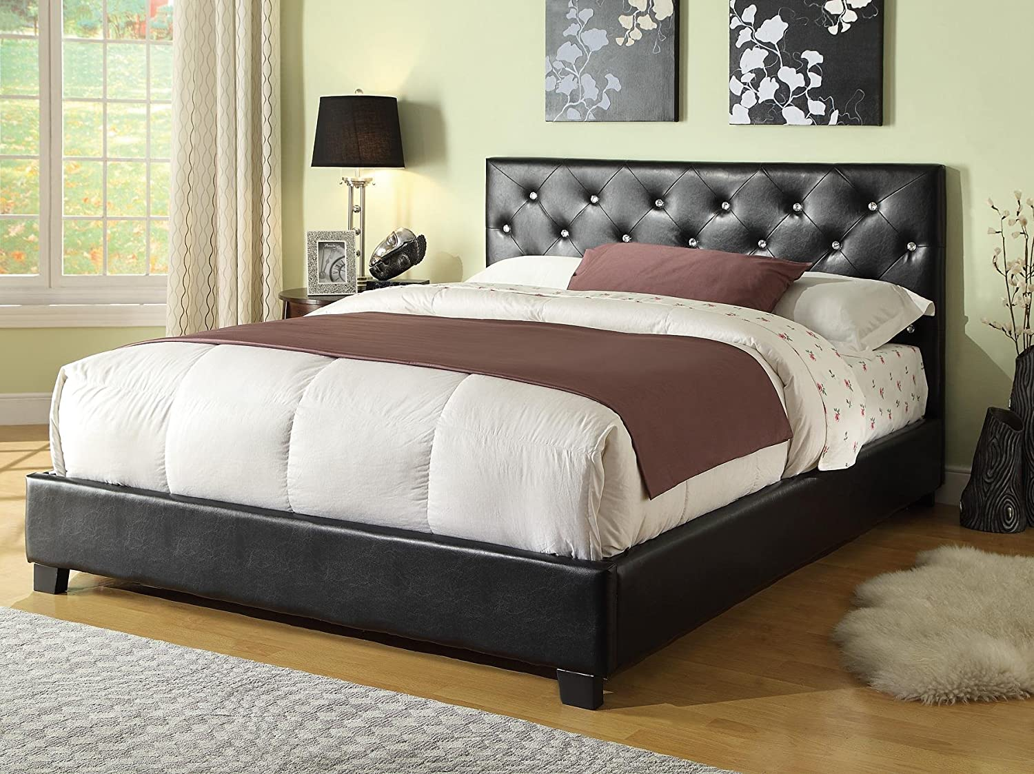 Amazon com coaster home furnishings coaster queen bed headboard footboard black kitchen dining