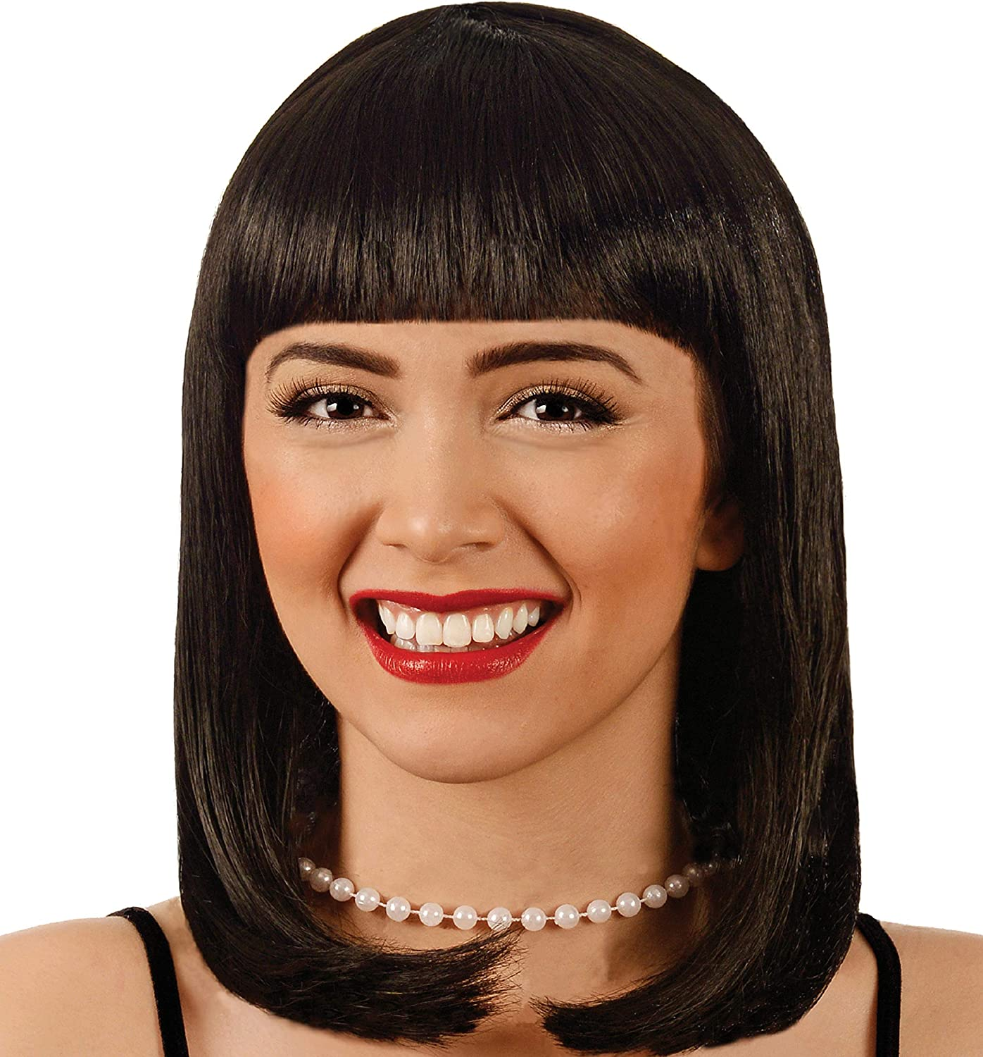 Amazon Com Buddy Holly S Peggy Sue Wig Cleopatra Mia Wallace Adams Family Halloween Party Costume Wigs Black Clothing