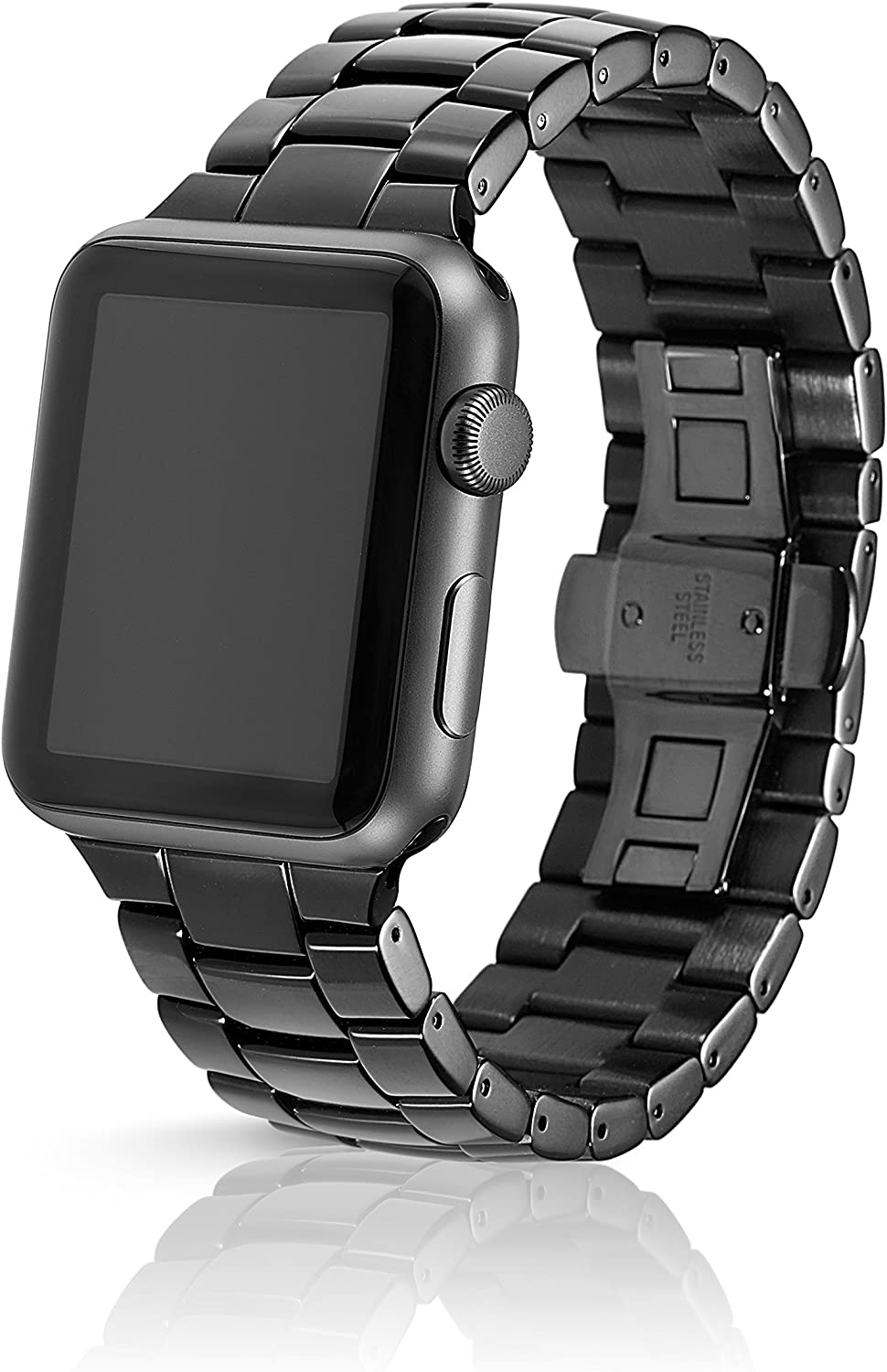 42/44mm JUUK Velo Premium Watch Band Made for The Apple Watch, Using Aircraft Grade, Hard Anodized 6000 Series Aluminum with a Solid Stainless Steel Butterfly deployant Buckle (Obsidian) 819Aqe2BrFlL