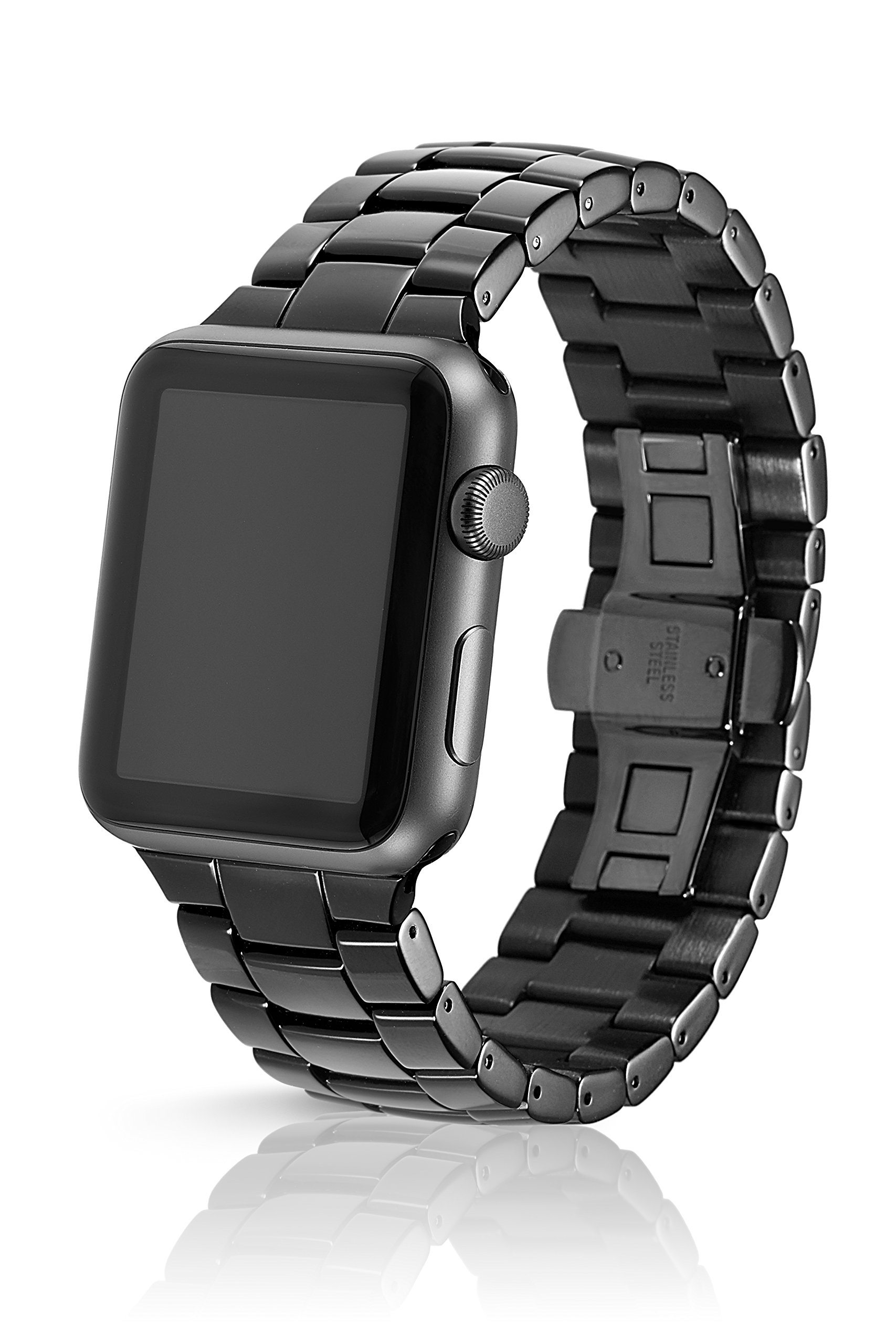 42/44mm JUUK Obsidian Velo Premium Watch Band Made for The Apple Watch, Using Aircraft Grade, Hard Anodized 6000 Series Aluminum with a Solid Stainless Steel Butterfly deployant Buckle (Polished)