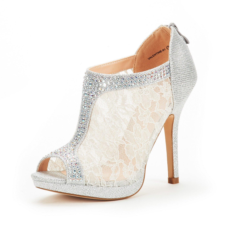 DREAM PAIRS Women's Valentine-01 Silver Glitter Fashion Dress High Heel Peep Toe Wedding Pumps Shoes Size 7.5 M US