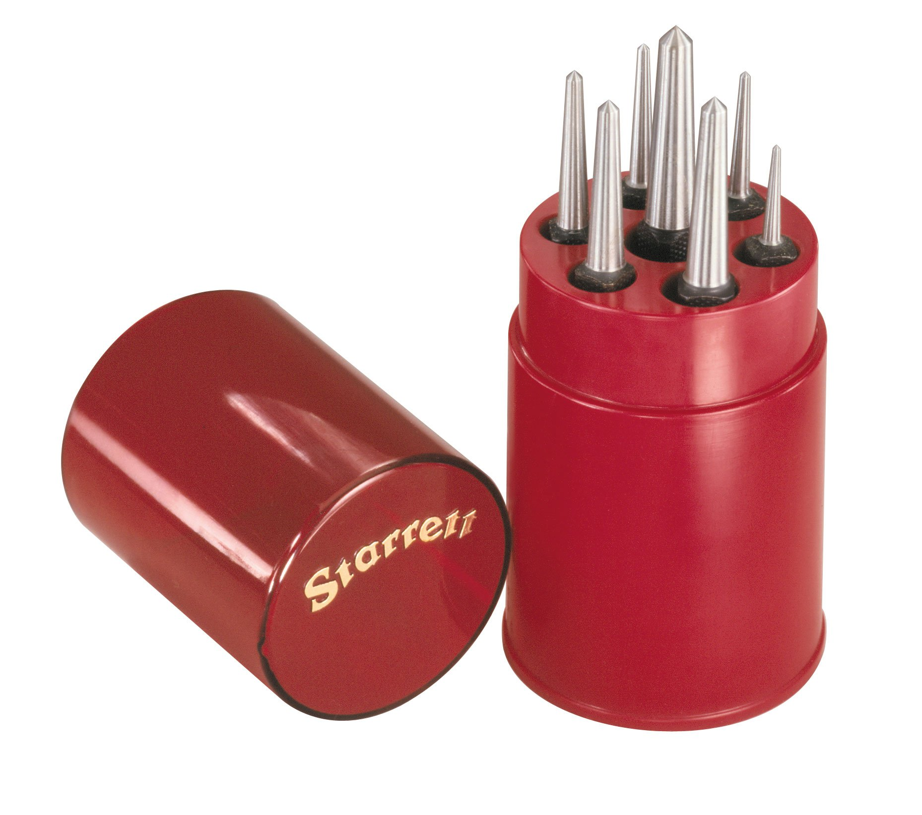 Starrett S264WB Set of 7 Center Punches in Round Plastic Box
