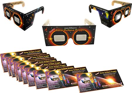 StepsToDo (with device) Premium Solar Eclipse Goggle. Sun Viewer Glasses with ISO Certfied Made in USA Films (Set of 10)