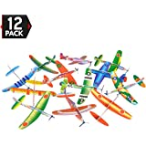 12 Pack 8 Inch Glider Planes - Birthday Party Favor Plane, Great Prize, Handout / Giveaway Glider, Flying Models, One Dozen