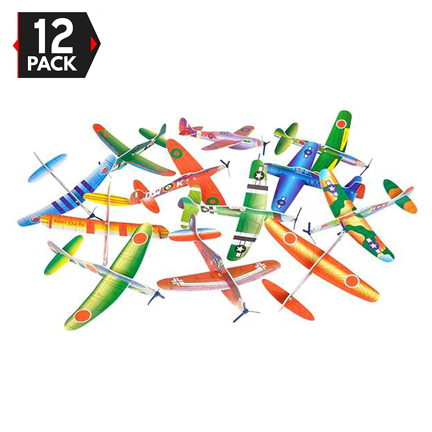 12 Pack 8 Inch Glider Planes - Birthday Party Favor Plane, Great Prize, Handout / Giveaway Glider, Flying Models, One Dozen Big Mo's Toys