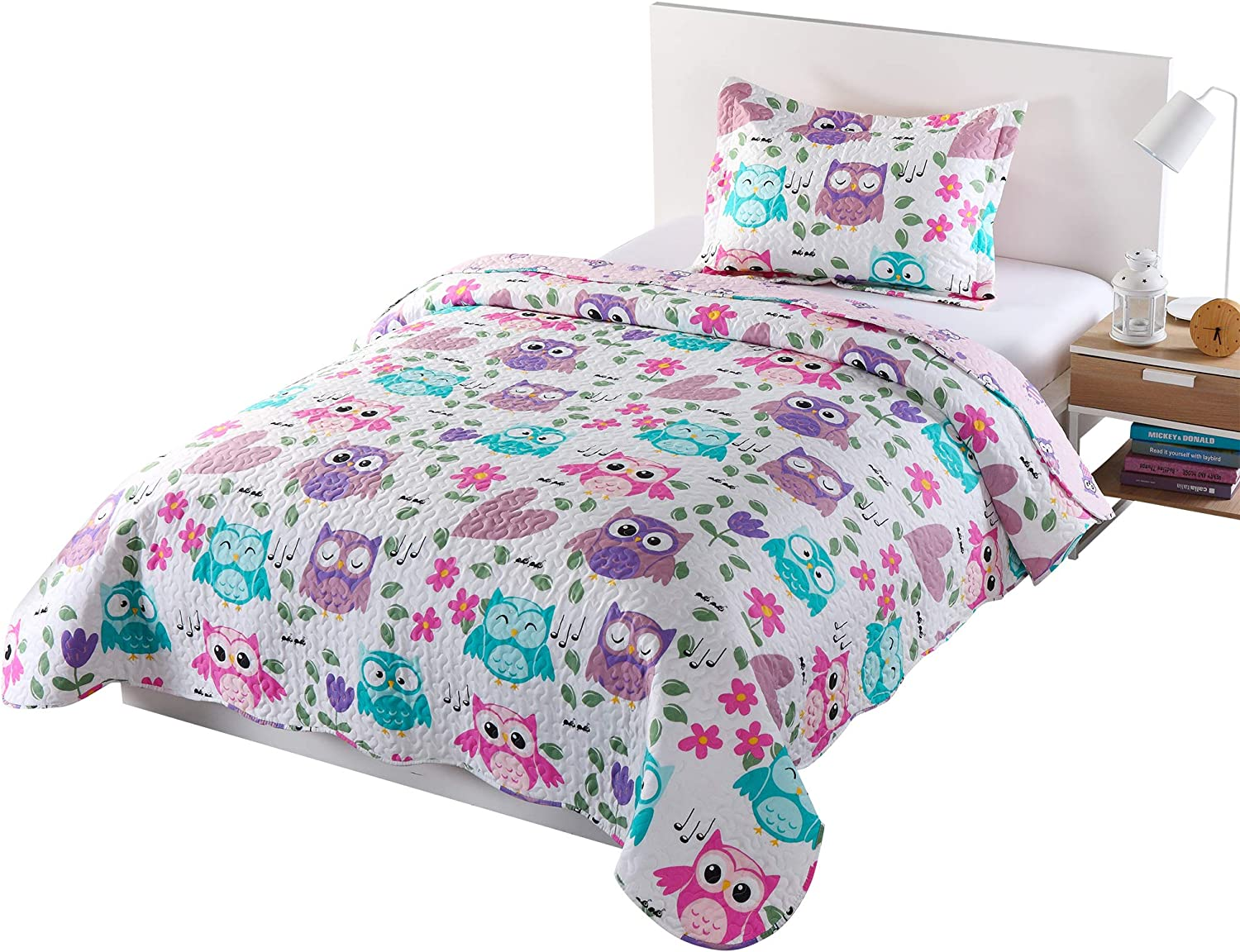 MarCielo 2 Piece Kids Bedspread Quilts Set Throw Blanket for Teens Boys Girls Bed Printed Bedding Coverlet, Twin Size, Purple Hoot (Twin)