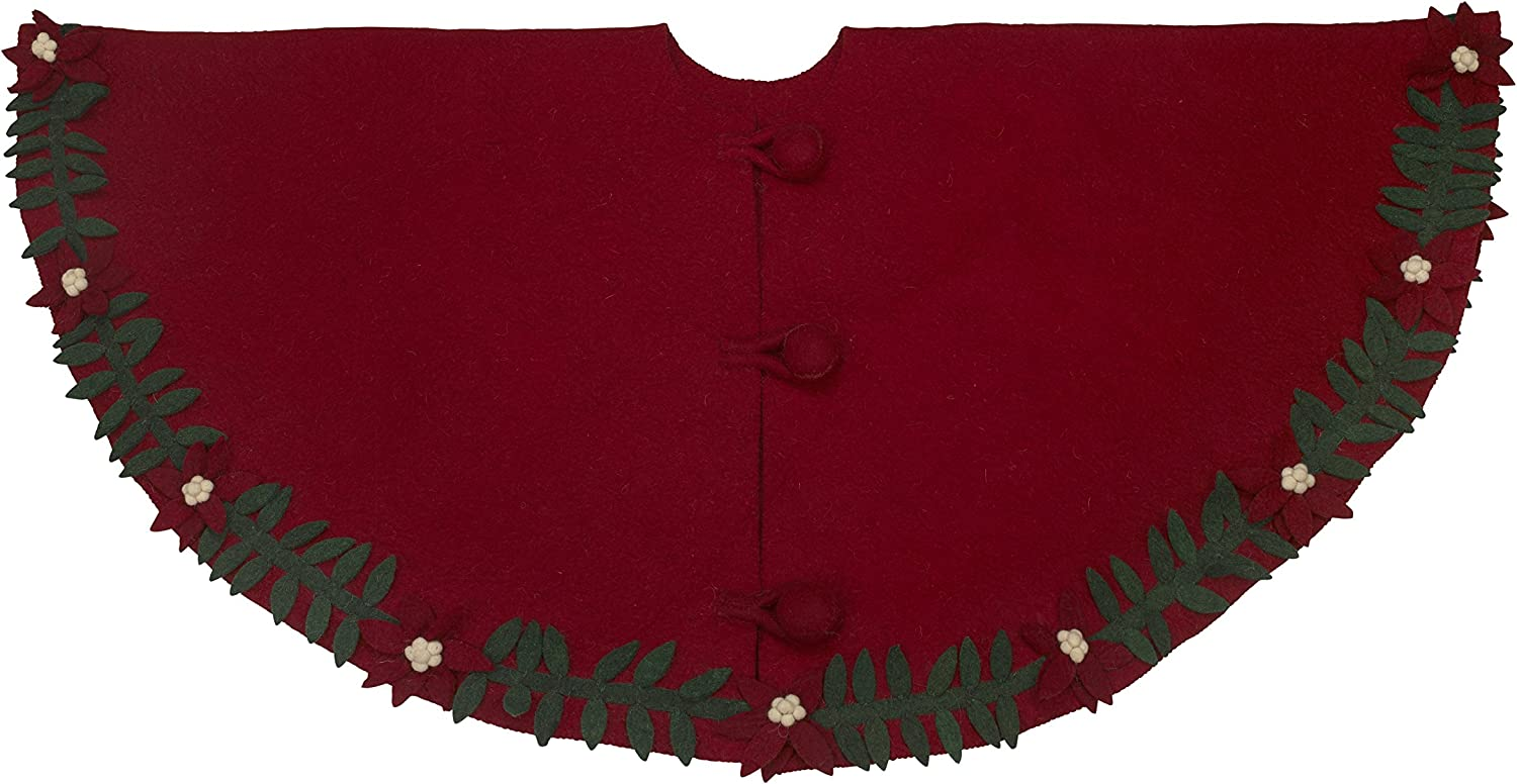 ARCADIA HOME T6 Poinsettia Wreath Tree Skirt in Hand Felted Wool
