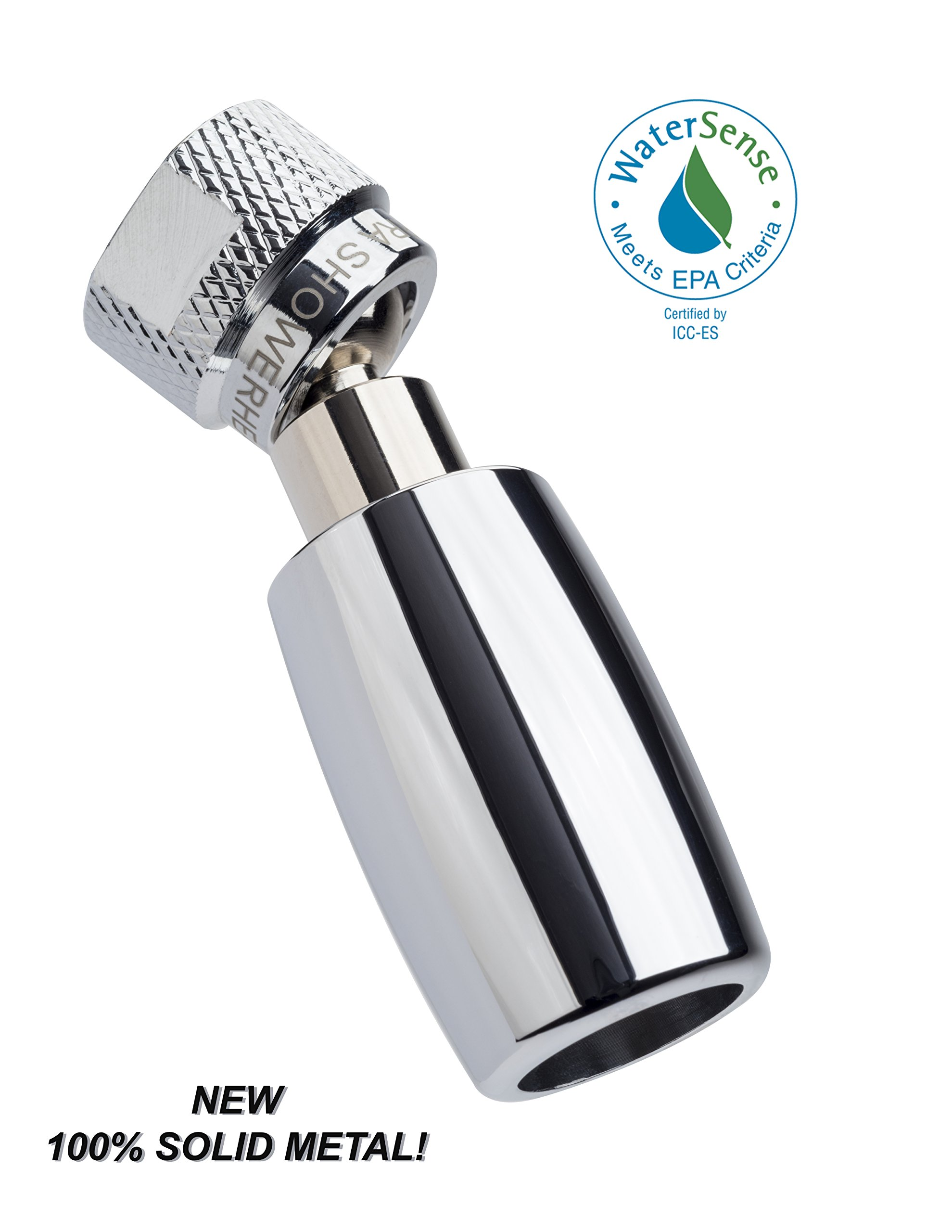 High Sierra's All Metal WaterSense Certified 1.8 GPM High Efficiency Low Flow Showerhead. Available in: CHROME, Brushed Nickel, Oil Rubbed Bronze, or Polished Brass