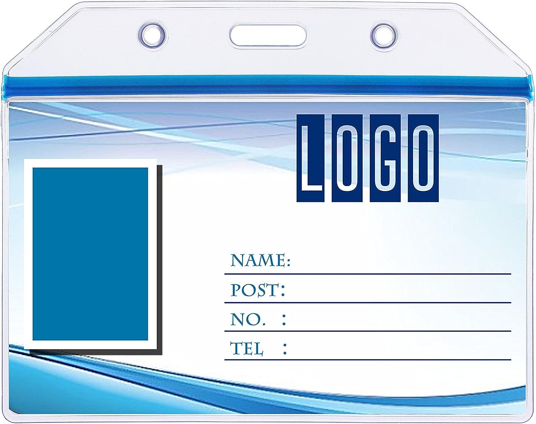 Office Horizontal 2 Pockets ID Card Badge Holder Clear Blue 5 Pcs