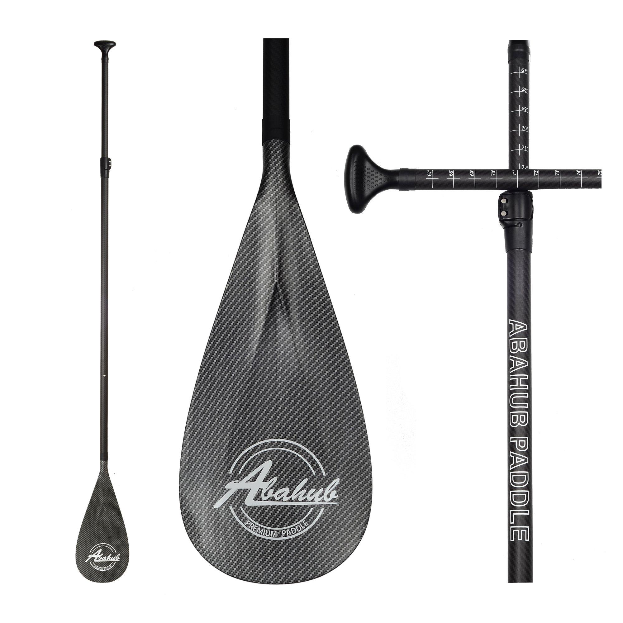 ABAHUB 3-Piece Adjustable Carbon Fiber SUP Paddle Carbon Shaft Carbon Print Plastic Blade + Bag