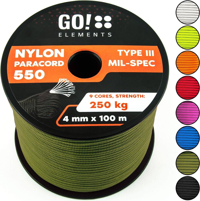GO!elements 100m Paracord de Nylon a Prueba de desgarros - 4mm Paracord 550 Typo III Cuerda - Adecuado como Cuerda Yute & Cuerda Gruesa | MAX. 250kg