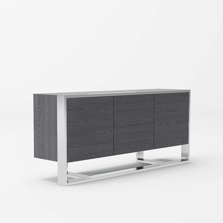 Limari Home Salvator Collection Modern Style Dining Room Buffet with 3 Doors, 3 Adjustable Interior Shelves, Stainless Steel Frame & Legs, Gray Elm Veneer
