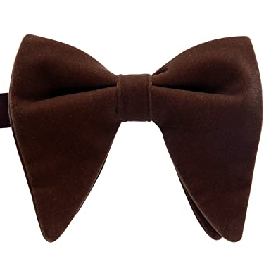a33d8c0a2f03 BIYINI Oversized Pre-Tied Bow Tie Velvet Adjustable Solid Mens Big Bowties  Brown at Amazon Men's Clothing store: