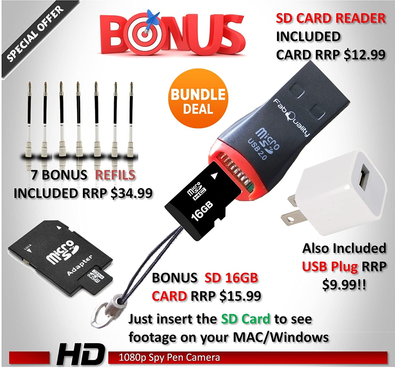 Amazon FabQuality 1080p HD Hidden Camera Spy Pen BUNDLE 16GB SD Micro Card USB Reader 7 INK FILLS Updated Battery Plug
