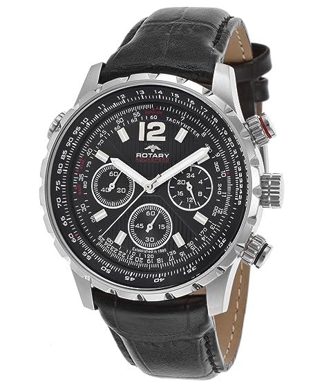 Rotary - Reloj cronógrafo Aquaspeeed para hombre, esfera negra con textura, correa de piel auténtica de color negro: Amazon.es: Relojes