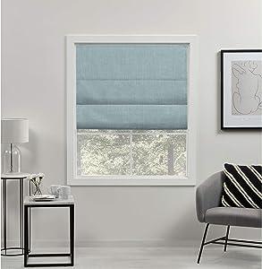 Exclusive Home Curtains Acadia Total Blackout Roman Shade, 27x64, Aqua
