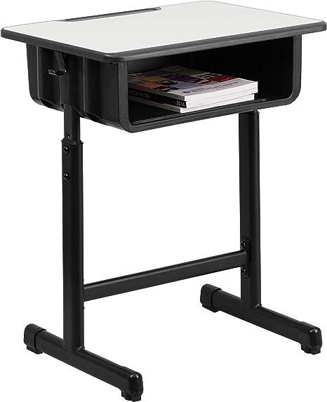 Amazon Com Flash Furniture Grey Open Front Desk Black Natural Furniture Decor