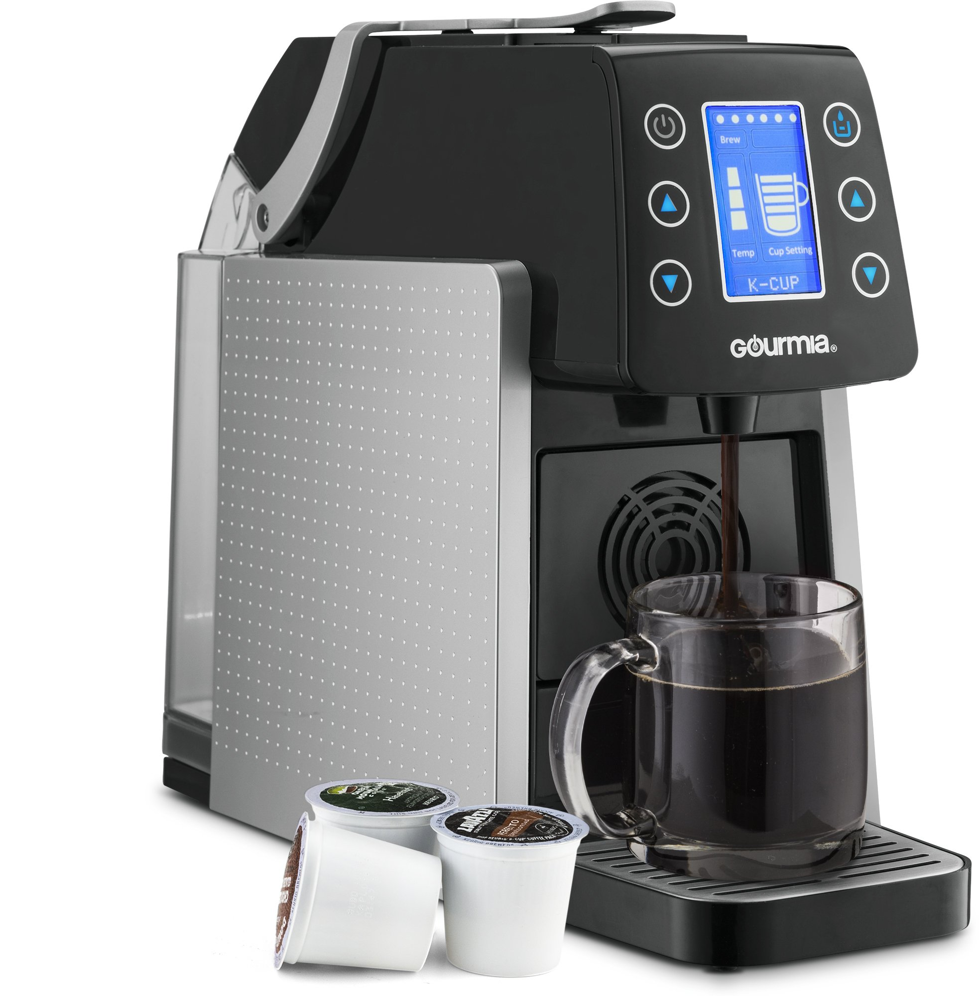 Gourmia GCM5000 One Touch Multi Capsule Coffee Machine, Compatible With Nespresso, K-Cup Pods & More, Built In Milk Frothier, Adjustable Temperature & Size, Digital Display - Silver by Gourmia (Image #3)