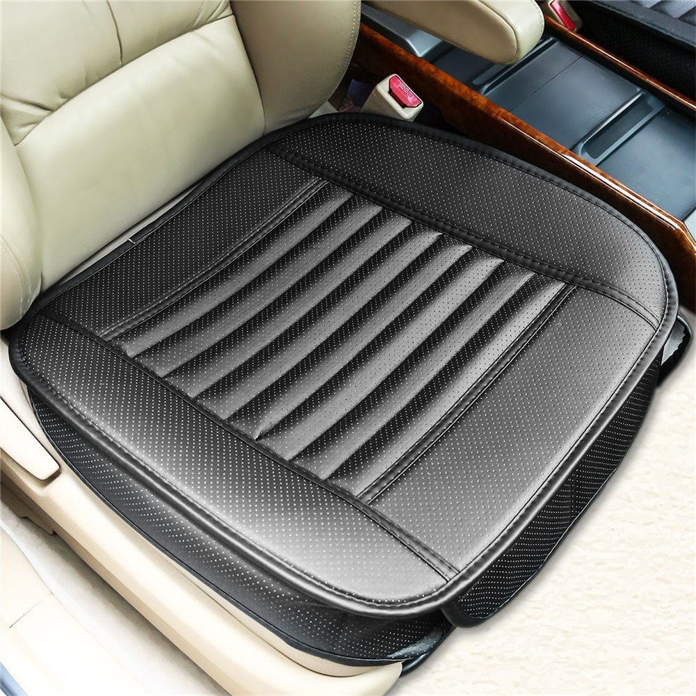 Car Seat Cushion Cover Universal Car Seat Covers Waterproof with PU Leather Car Seat Pad MatBamboo Charcoal Car Seat Protector Accessories Four Seasons (Black)