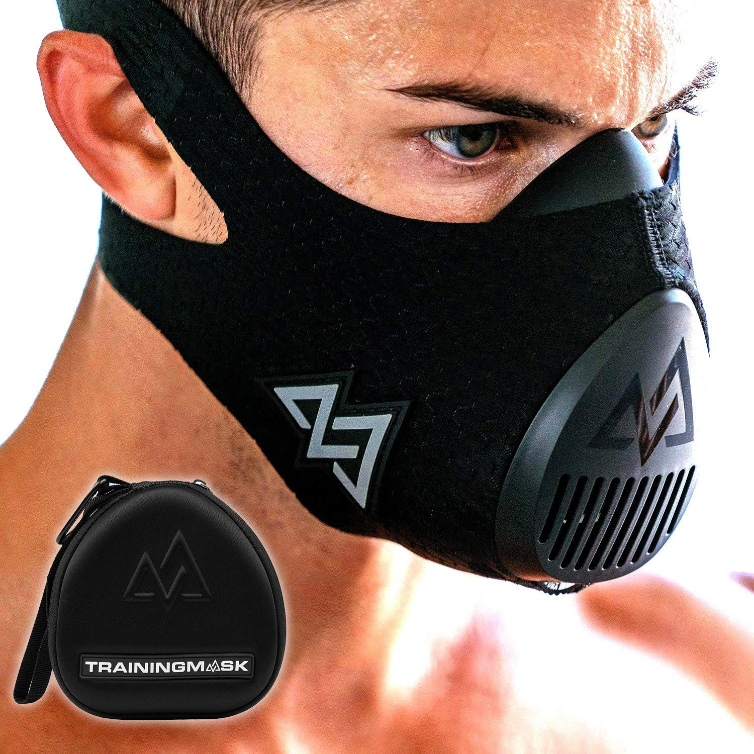 Training Mask 3.0 [EVA Case Included] Workout Elevation Performance Fitness Mask for Running and Breathing Mask, Cardio Mask, Official Training Mask Used by Pros (All Black + Case, Small)