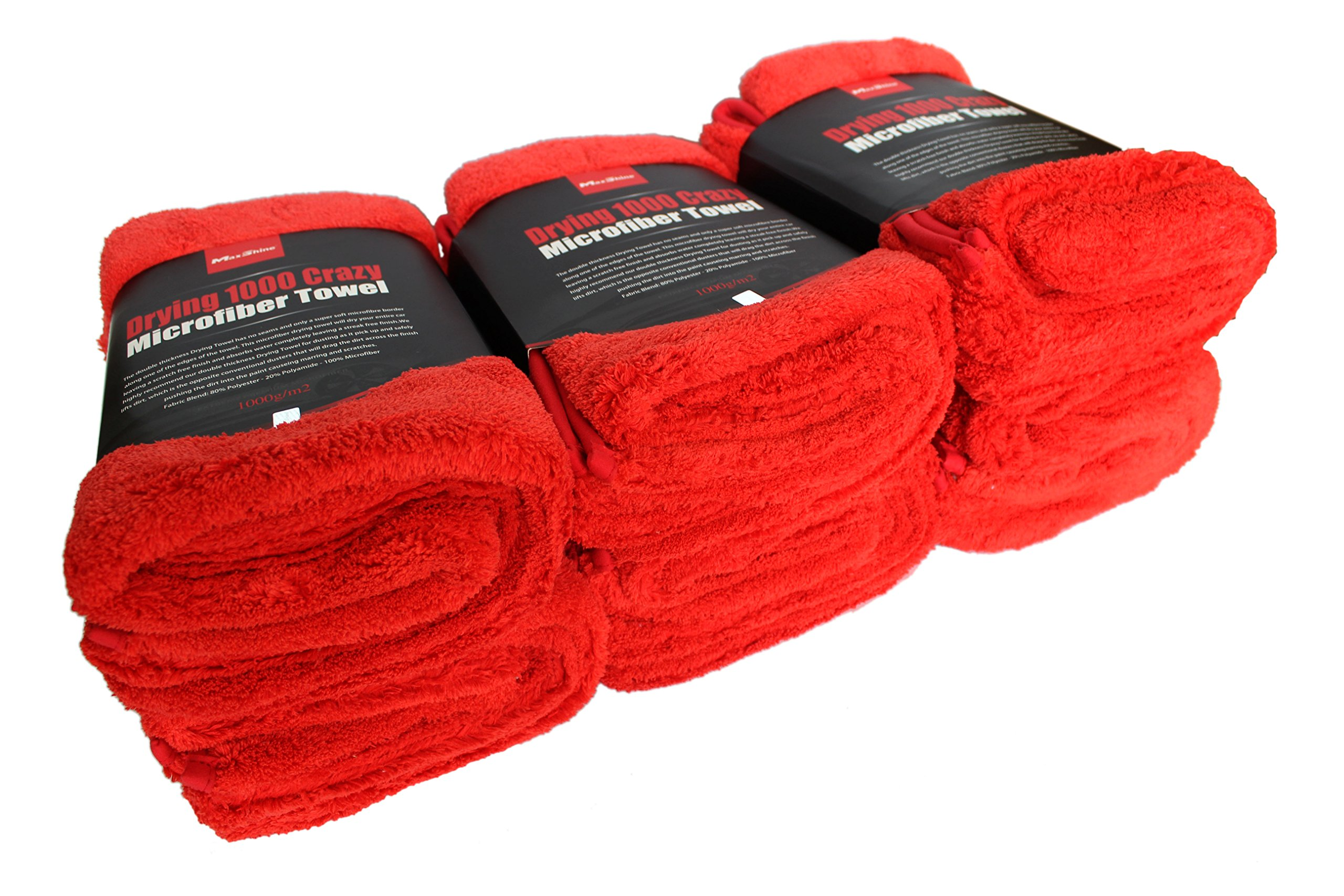 Maxshine 1000GSM Crazy Microfiber Drying Towel Series, Red, 50x70cm (Pack of 6)