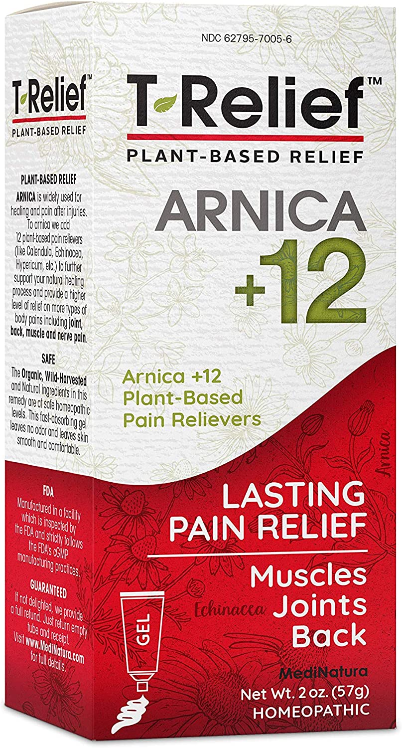 MediNatura T-Relief Natural Pain Relief with Arnica + 12 Plant-Based Pain Relievers - 2 oz Gel