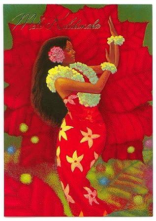 hibiscus hula deluxe hawaiian christmas cards box of 12 cards - Hawaiian Christmas Cards