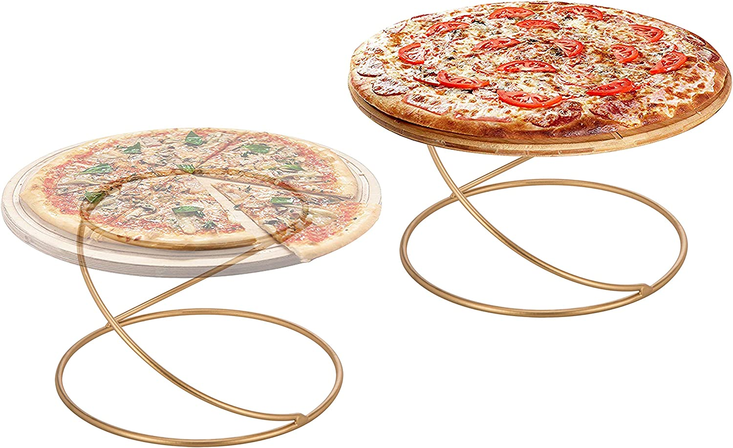 MyGift Modern Gold Wire Metal Pizza Tray Pedestal, Circular Serving Platter Riser Stands, Set of 2