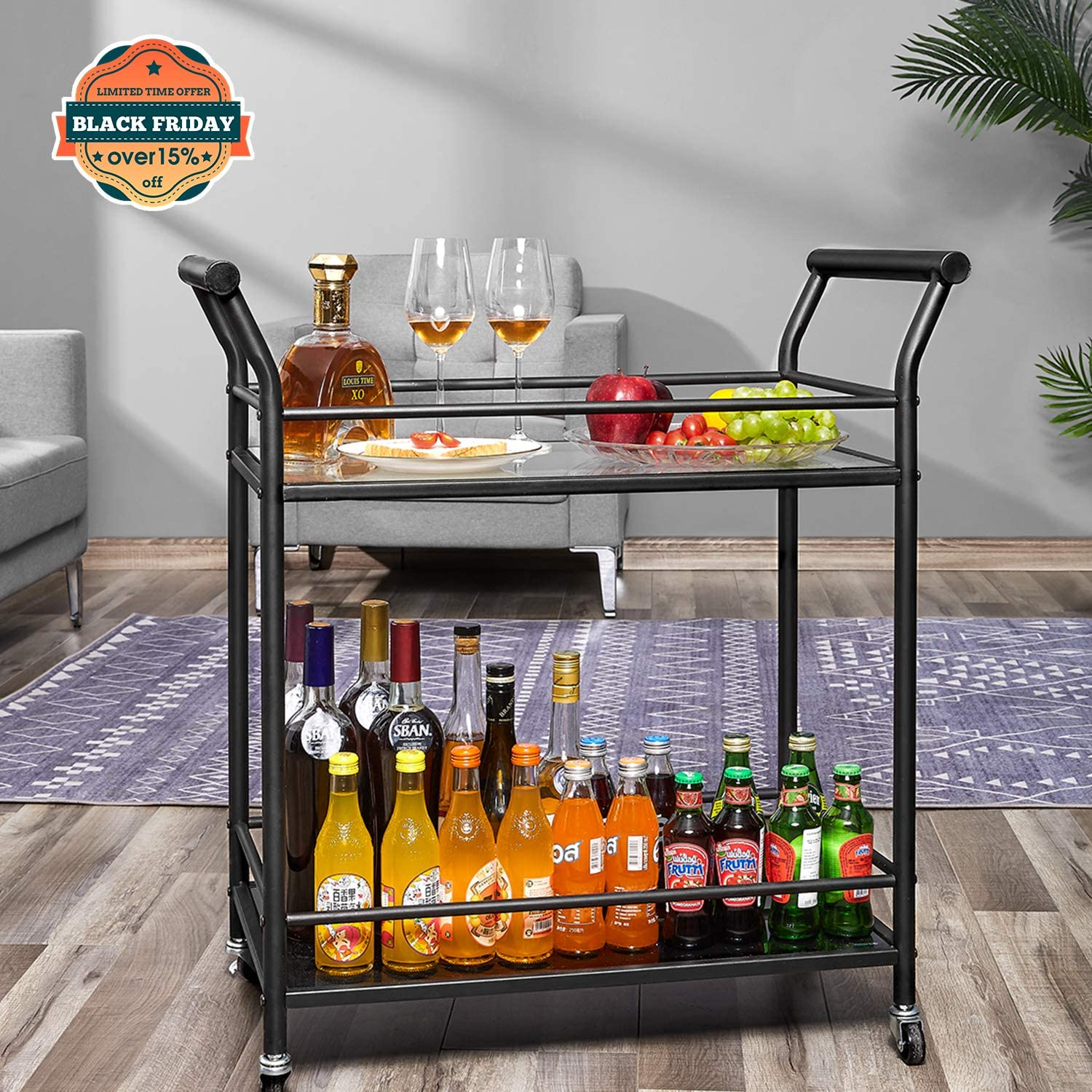 kealive Rolling Bar Cart Wine Serving Cart with Tempered Glass and Metal Frame, 2 Lockable Wheels, 29.5L x 15.8W x 31.5H, Black