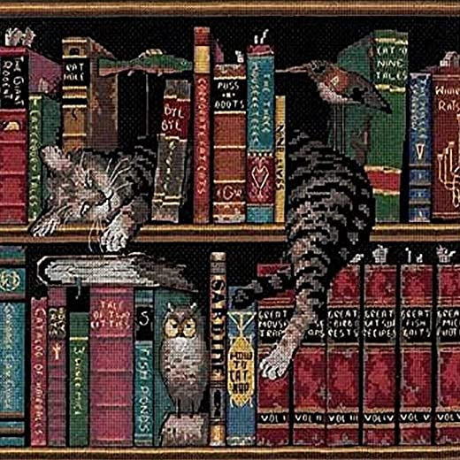 Dimensions 'Frederick the Literate' Snoozing Cat Counted Cross Stitch Kit, 14 Count...