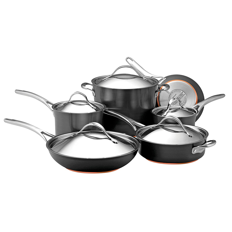 Anolon Nouvelle Copper Hard-Anodized Nonstick Cookware Set, 11-Piece, Dark Gray