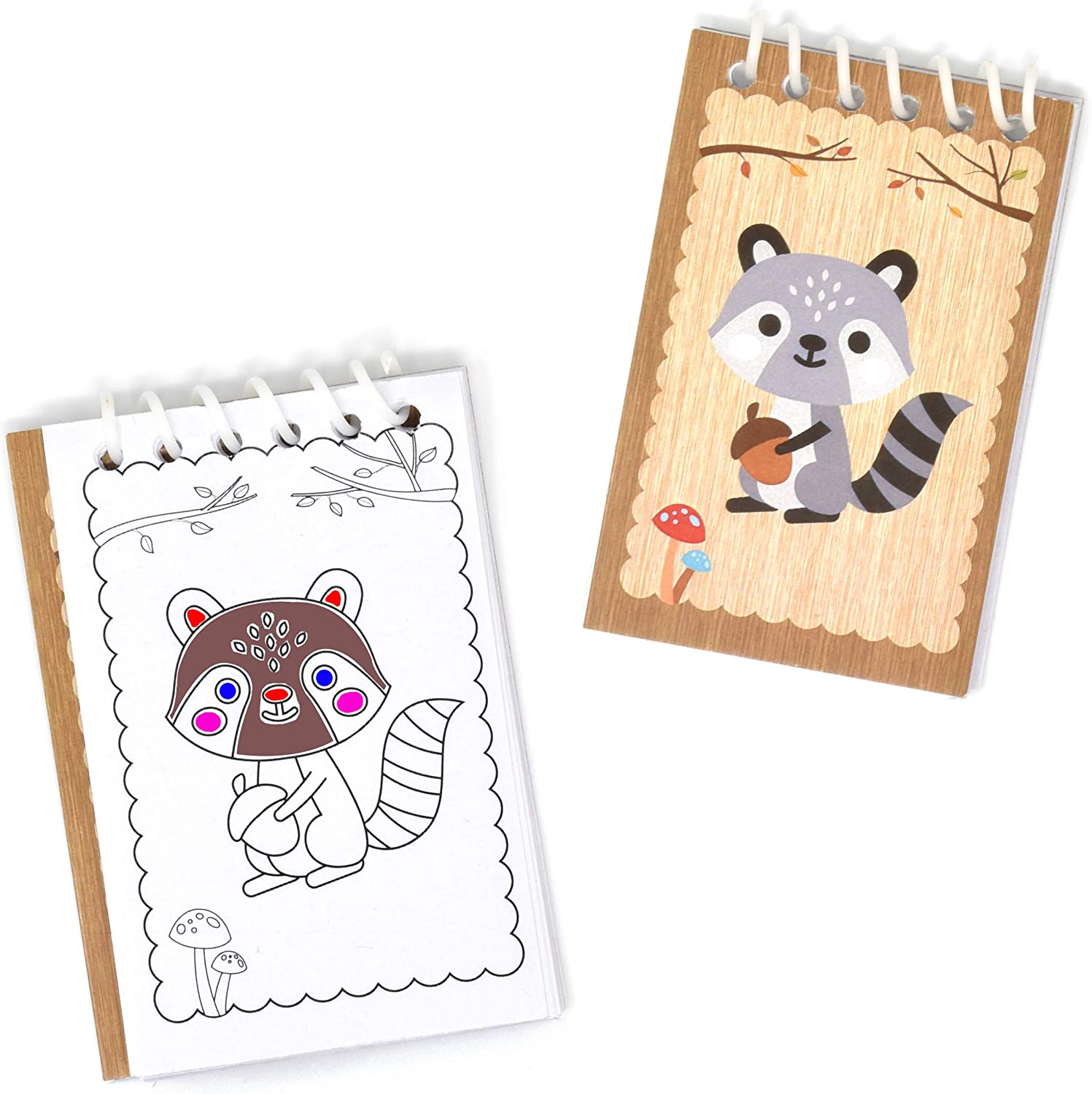 48 Count Woodland Animal Creatures Mini Notepads Forest Animals Themed Birthday Party Favor Supplies Decor Raccoon Squirrel Owl Rabbit Fox Deer Baby Shower Spiral Notebook for Kid Boy Girl Classroom