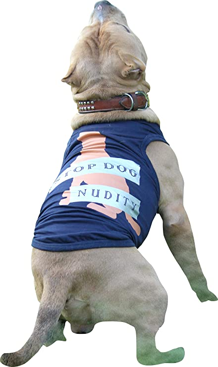 Doxters S30 Dog T Shirts , Stop Dog Nudity Print, Navy Blue