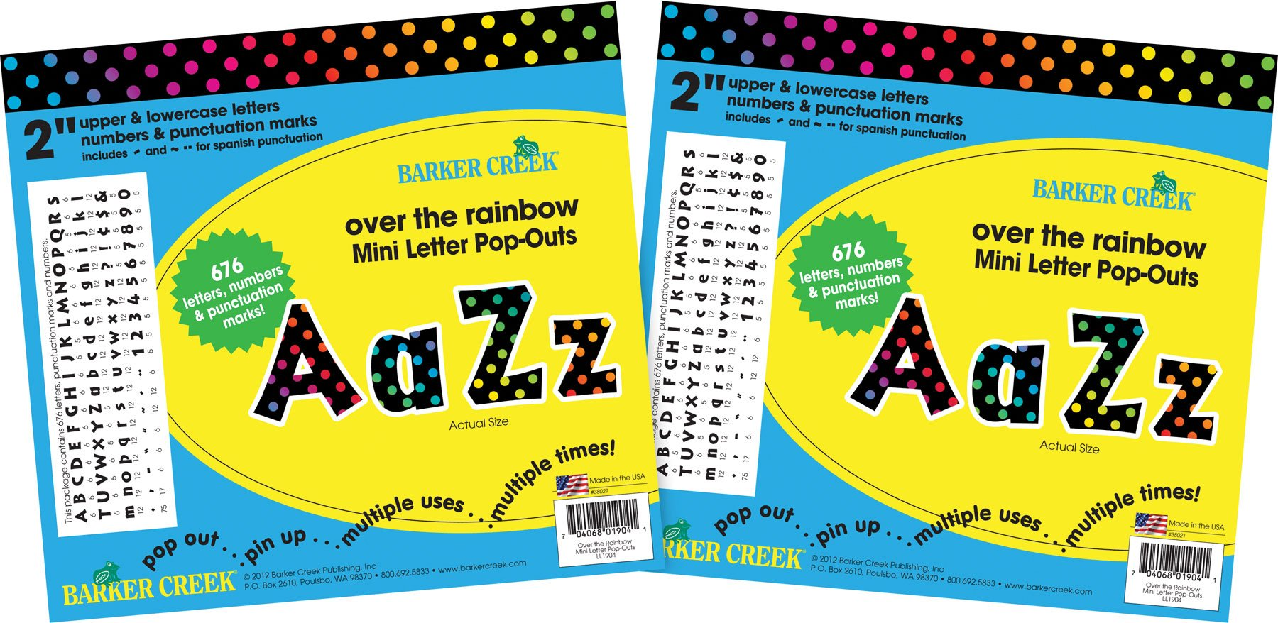 Barker Creek 2'' Letter Pop-Outs 2 Pack - Over The Rainbow (BC3653) by BARKER CREEK