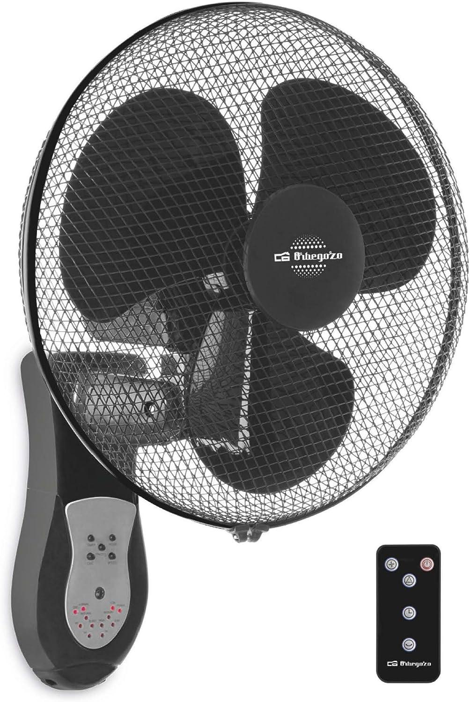 Orbegozo Ventilador de Pared WF 0243. Tamaño de aspas 40 cm. 3 modod de ventilación: Normal, Nature, Sleep. Indicadores LED Cabezal oscilante multiorientable