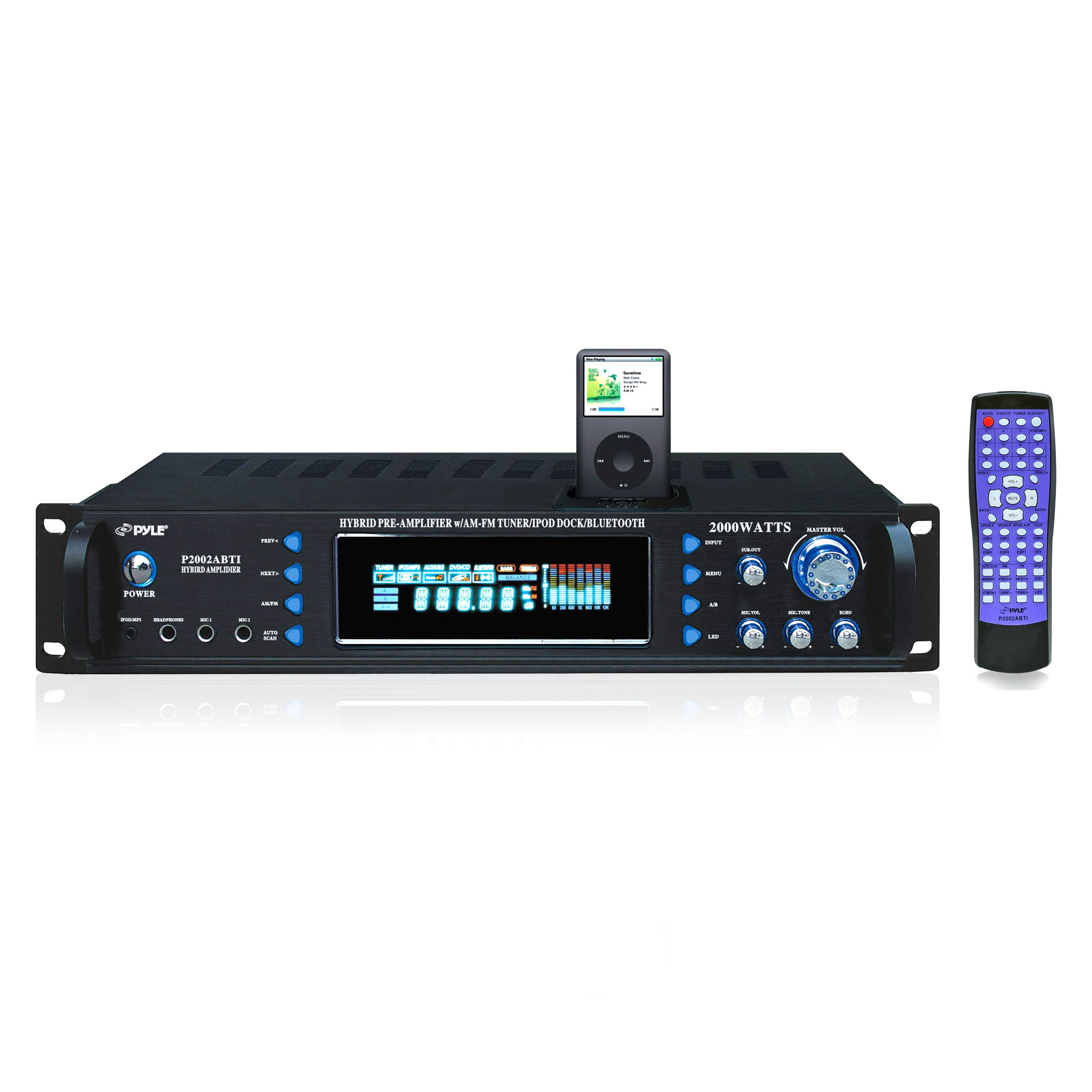 Pyle P2002ABTI 2000 Watts Hybrid Receiver and Pre-Amplifier with AM-FM Tuner/iPod Docking Station and Bluetooth by Pyle